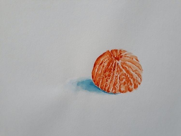 Peeled Mandarin Watercolour 24  - burningbuddha | ello