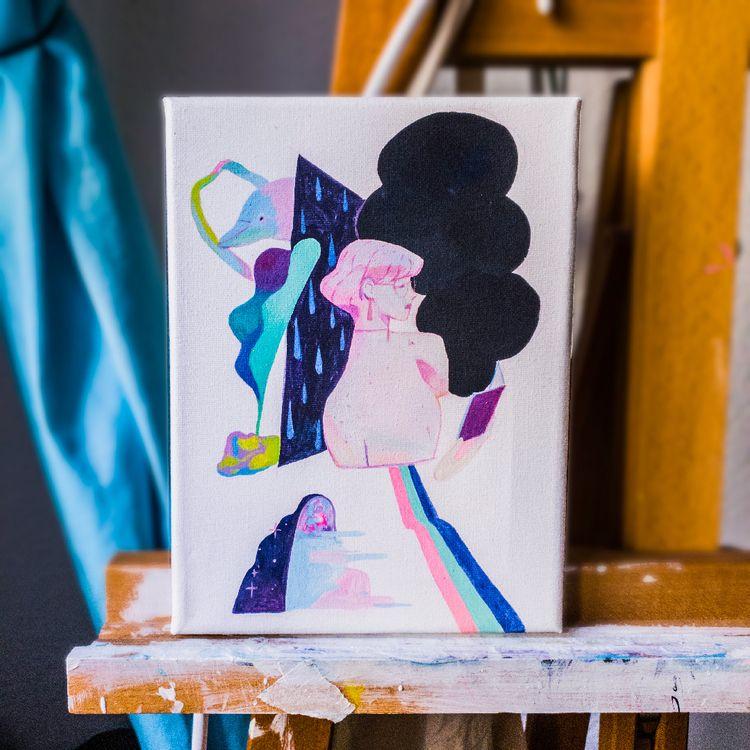 Reading Acrylic canvas 18x24cm - joysuke   ello