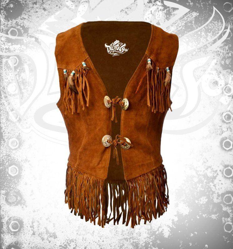 Women Hippie Leather Fringe Ves - devilson | ello