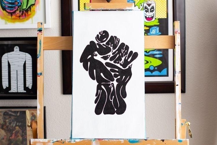 Hiii 10x18 inches Acrylic Canva - johnnydraco | ello