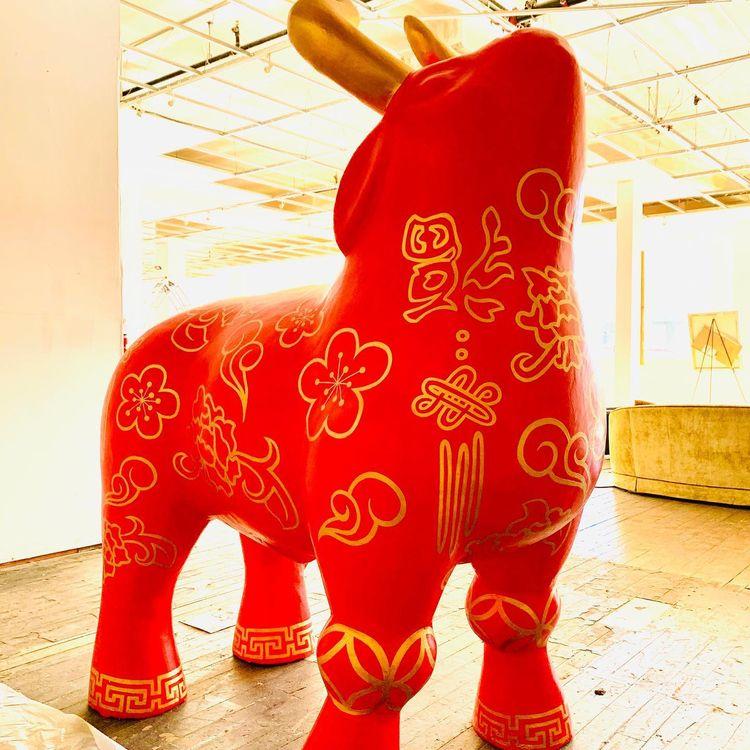 ox sculpture designed painted y - briantravis   ello