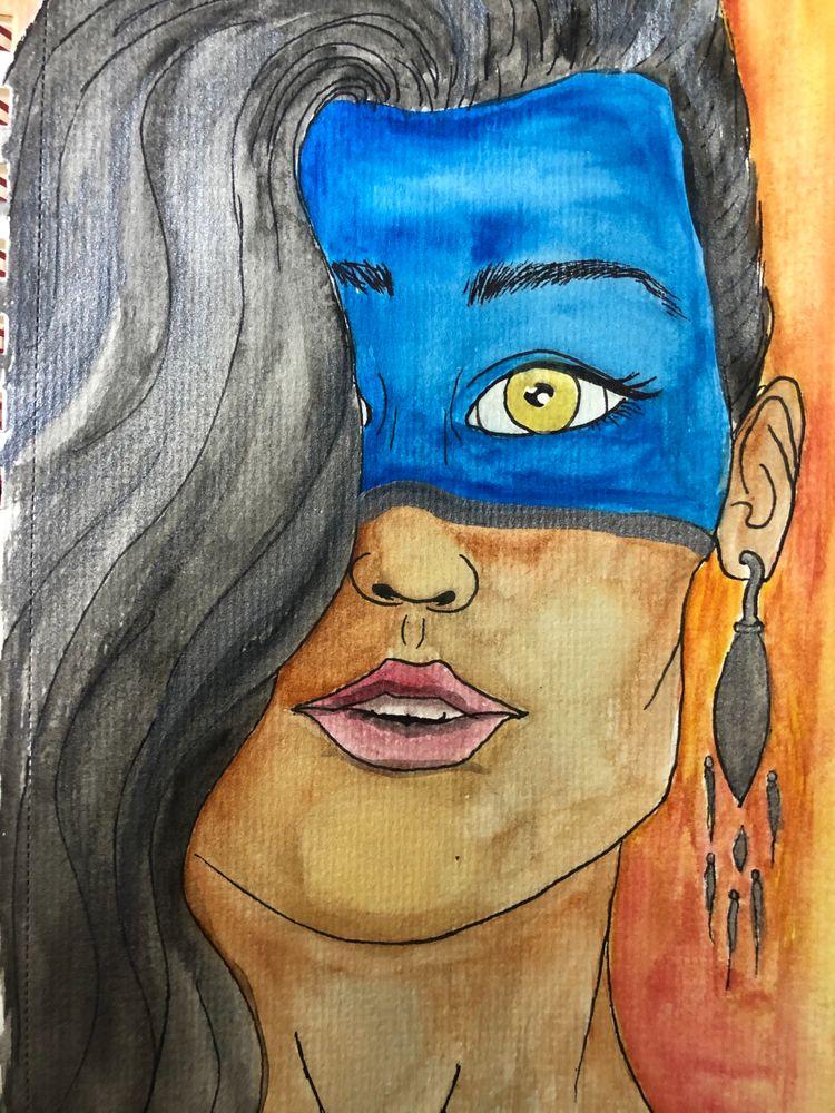Watercolor, ink, colormoods, greenandyellow - jupitermoons | ello