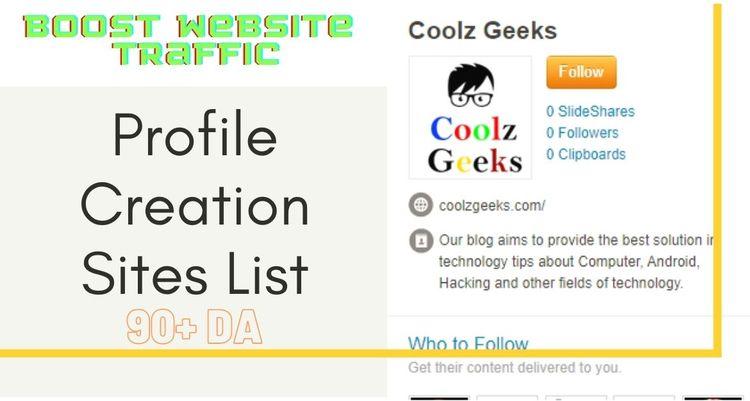 Profile Creation Sites List? fo - coolzgeeks | ello