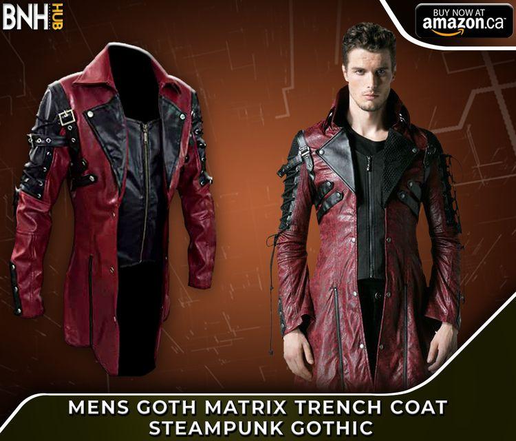 Mens Red Goth Matrix Trench Coa - bnhleatherhub | ello