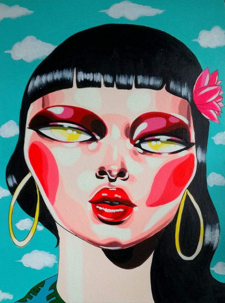 Hasu Hana Acrylic paper (30x40  - zeldabomba   ello