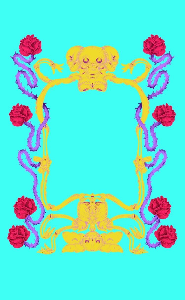 'Skull Flower Frame - illustration - servalfandango | ello