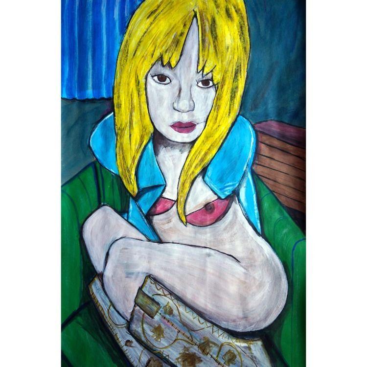 Yellow Blonde 2021, acrylic pap - artchrisdale | ello