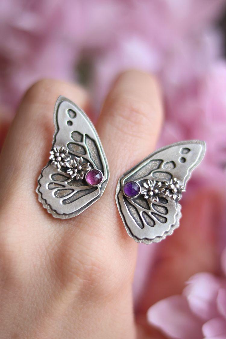 Butterfly open ring Rhodolite G - stardustmine | ello