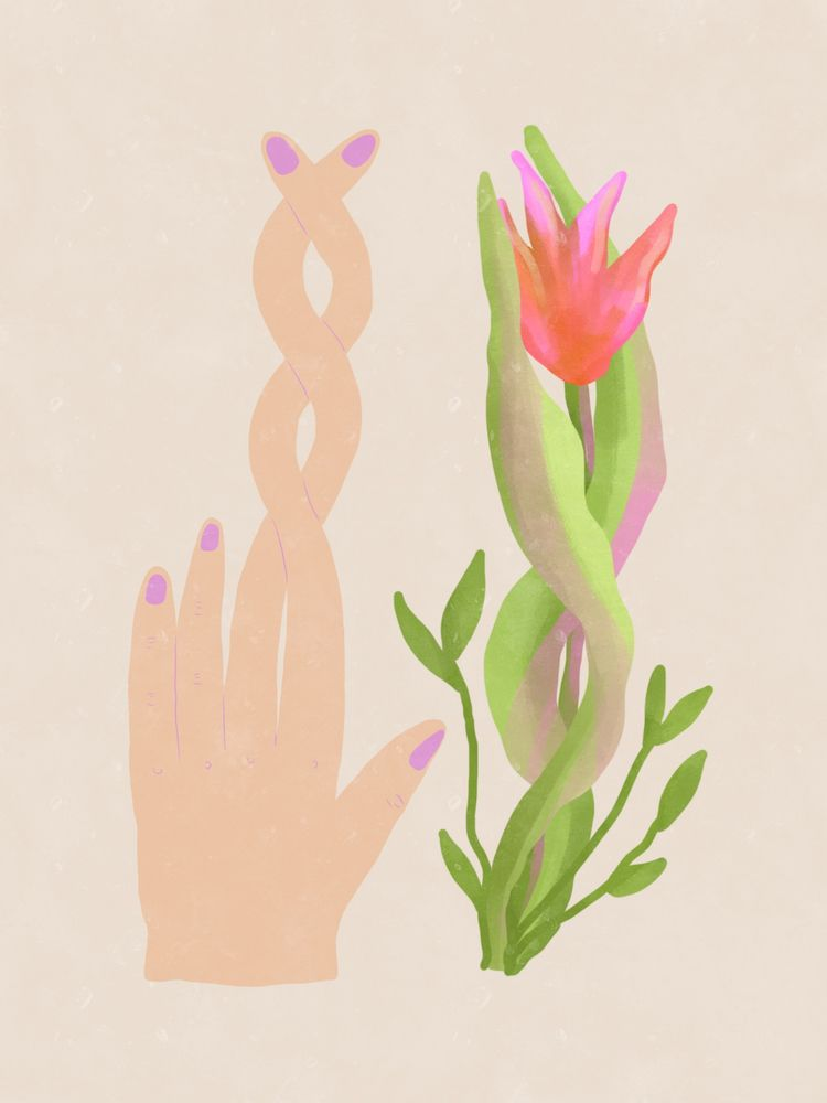 Fingers laced intertwined plant - francescagaby   ello