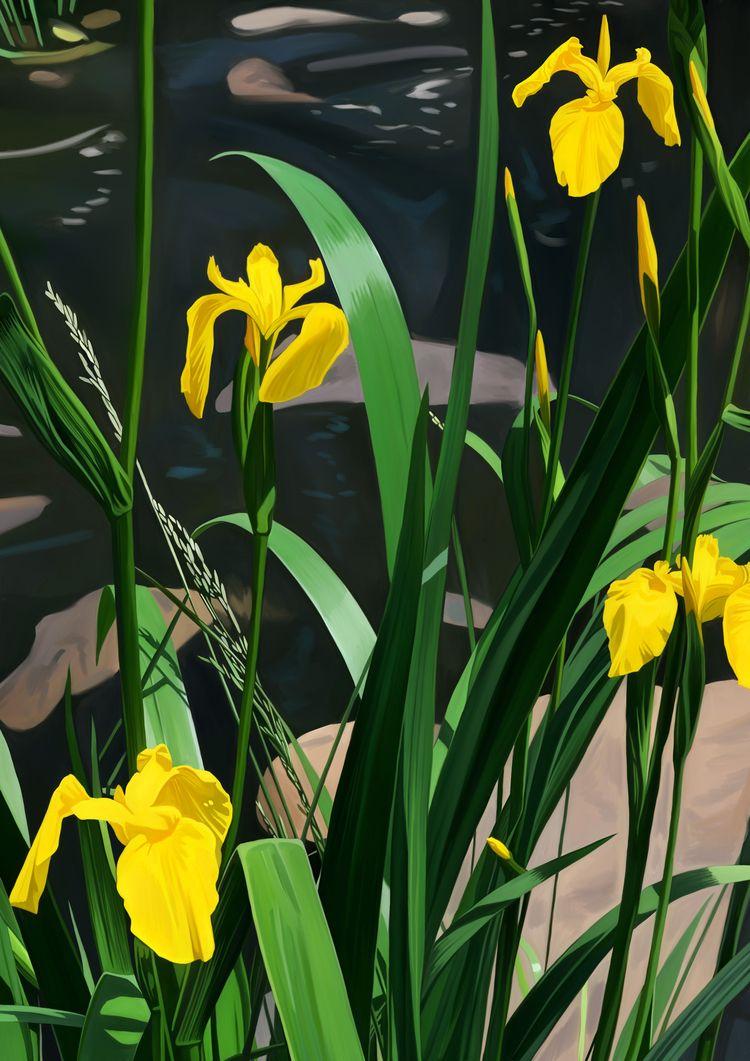 'Yellow Irises' - digital paint - eunjeongyoo | ello