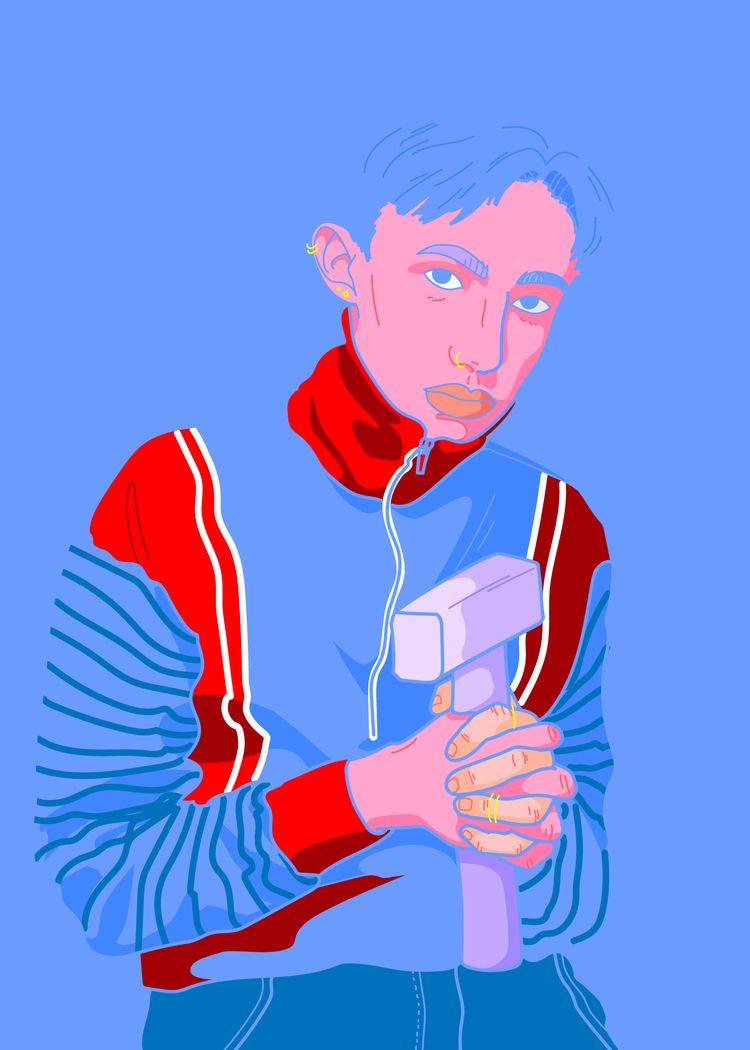 blue guys  - illustration, hammer - resalami   ello