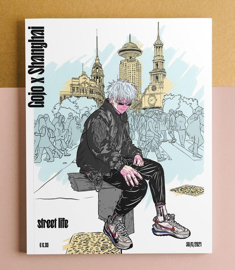 Satoru Gojo Shanghai Sketch. pr - justblack   ello