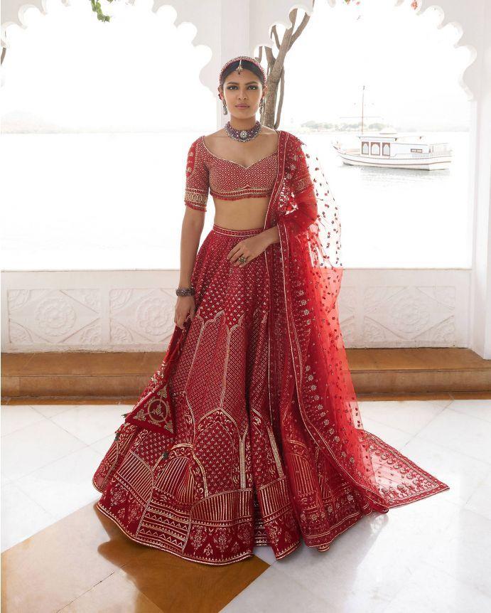Buy Red Barkha Bridal Lehenga s - noha87 | ello