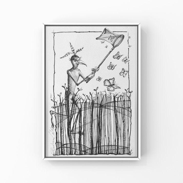 Catching Butterflies, pen ink 6 - blibbysteinmann | ello