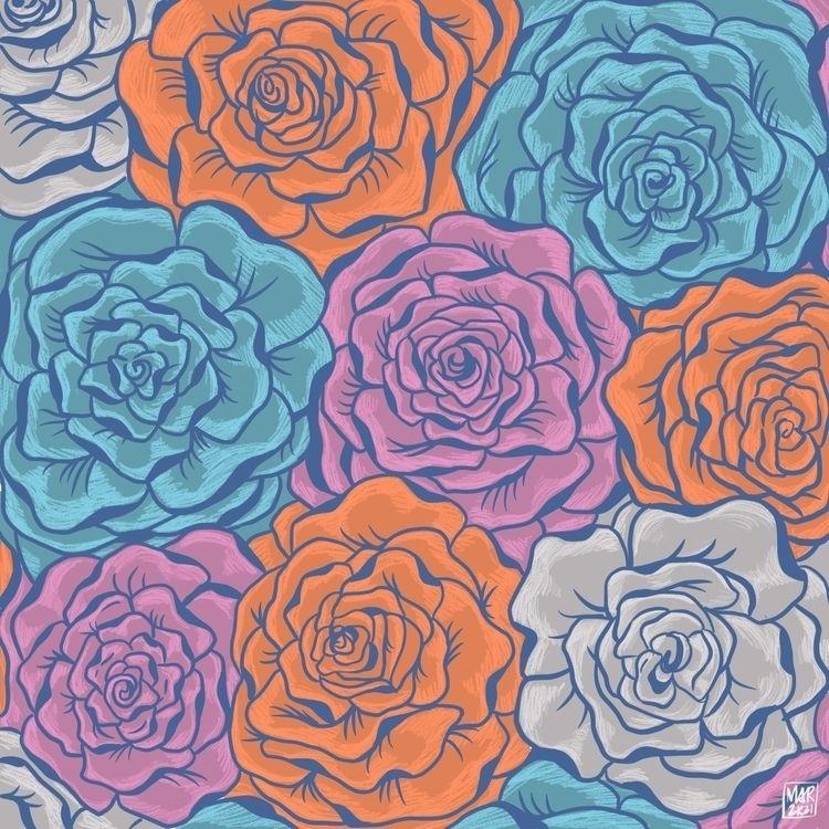 Rosas - patterns, floral, illustration - angmaarte   ello