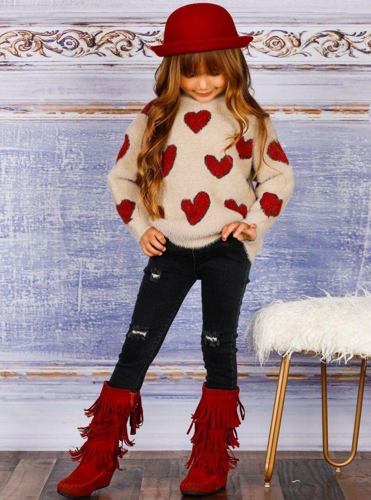 Girls Lovey Dovey Heart Sweater - miabellegirls | ello