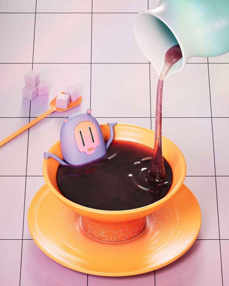 cup tea :coffee:️ - 3d, c4d, cinema4d - hyperthalamuscorp | ello