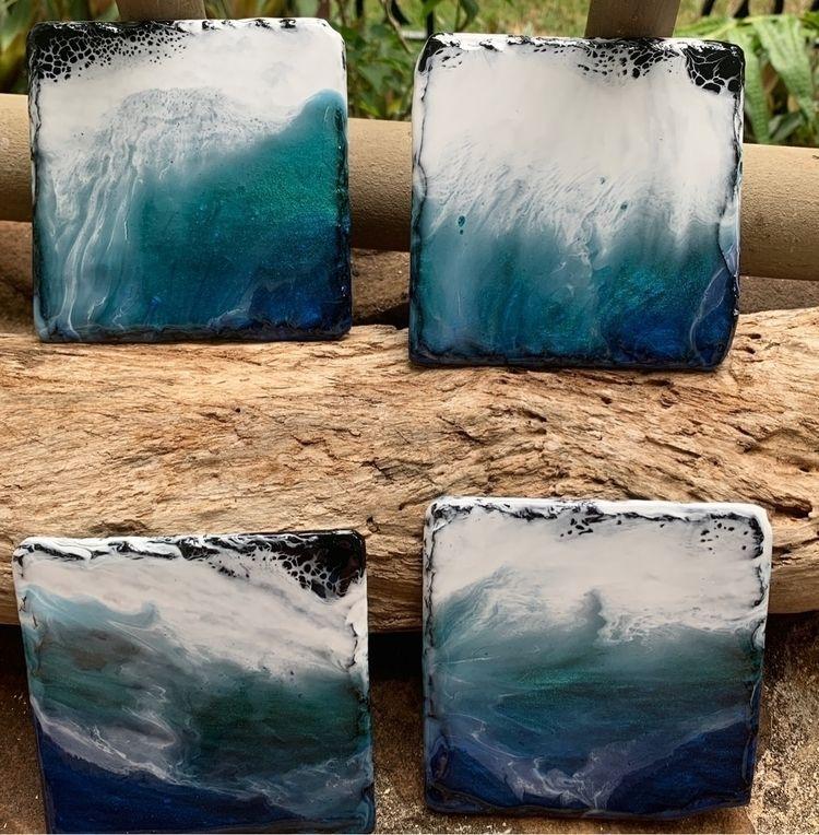 Ocean Resin Slate Coasters Etsy - flatterydesigns   ello