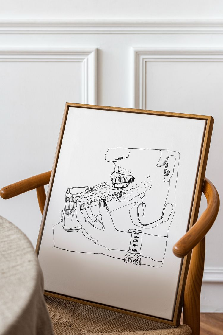 Sketch drawing eating sandwich  - yaninja | ello