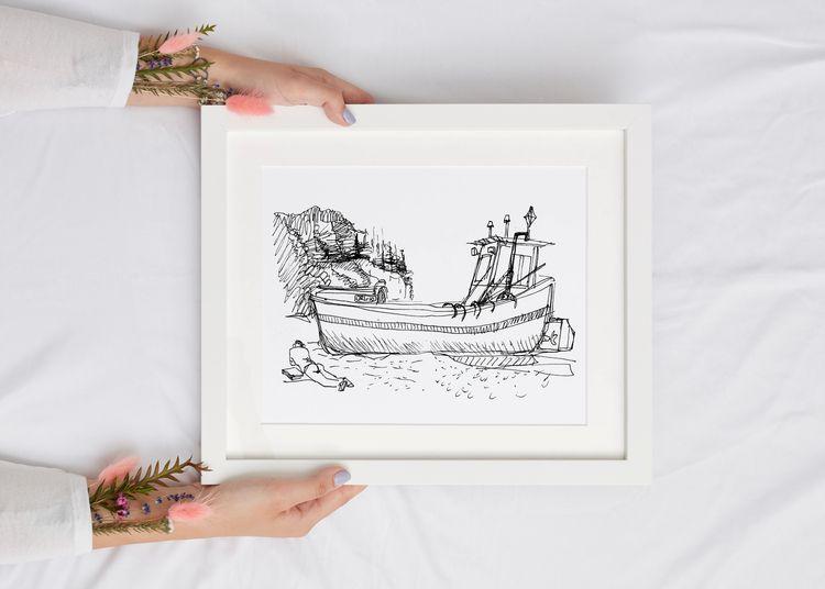 Sketch line drawing ship sea sk - yaninja | ello