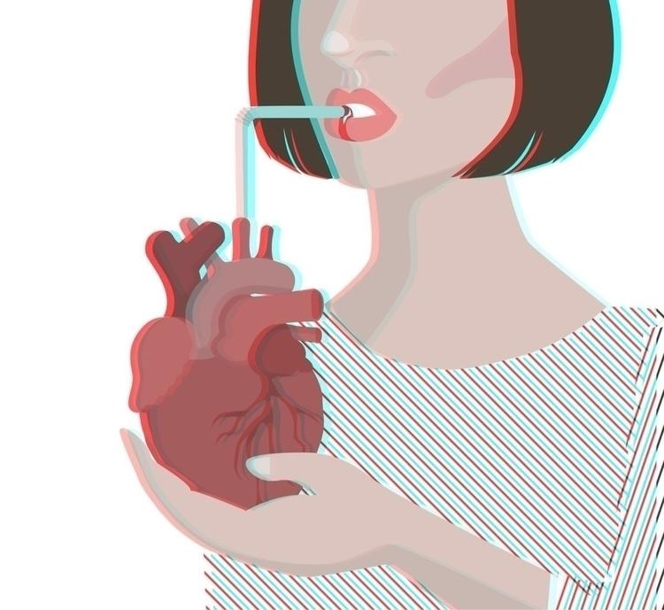 art illustration heart cocktail - henrieke_lu | ello