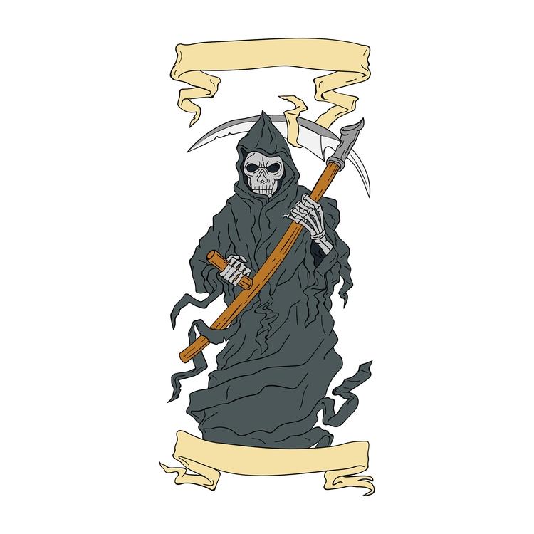 Grim Reaper Scythe Scroll Drawi - patrimonio | ello