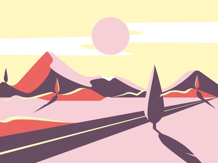Sunset. 2D vector illustration  - gunimation   ello
