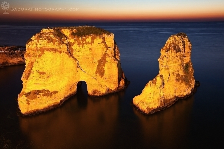 Pigeon Rocks Beirut sunset Beir - hsphotos | ello
