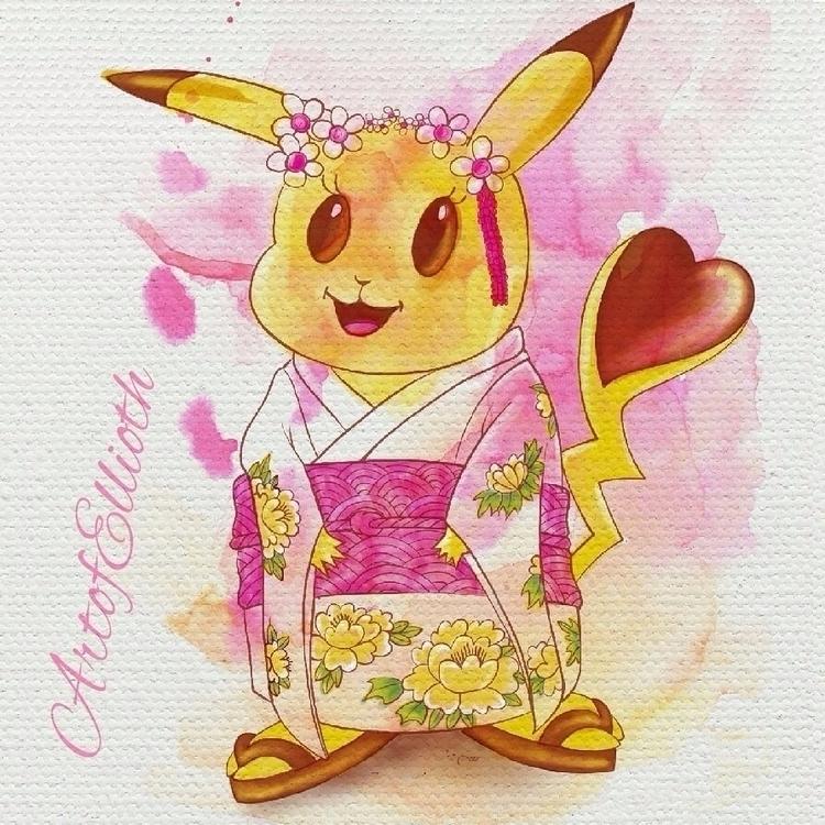 Pika Japanese Pikachu ipad pro  - elcid0703 | ello