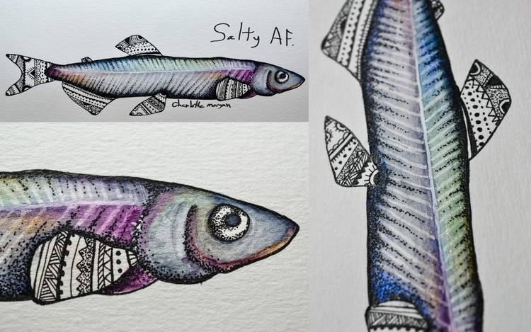 Capelin. love sparkly watercolo - bowsbeadsbirds | ello