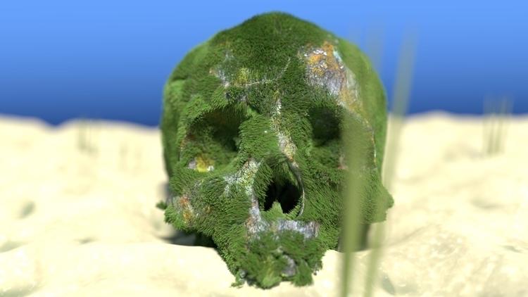 Mossy Skull render cgi cg blend - fabulousrice | ello