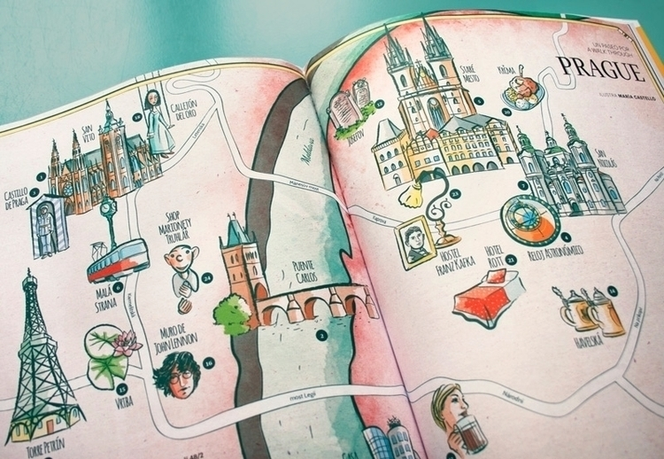 Map Prague Ling Magazine illust - mariacastellosolbes | ello