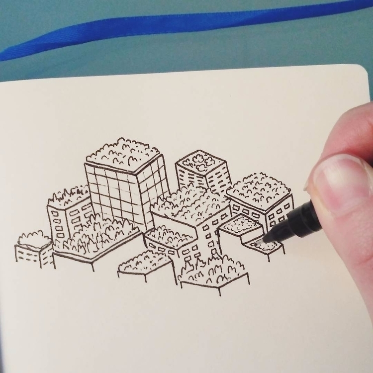 Quick sketch green roof city. b - ashleighgreen | ello