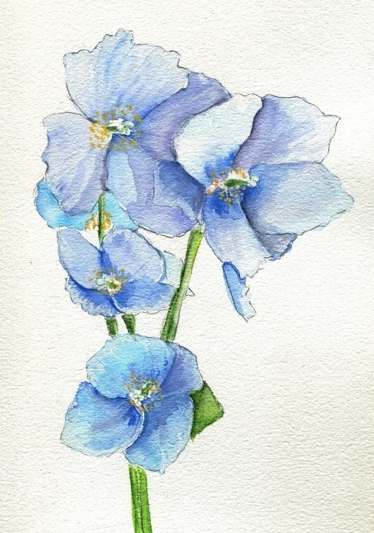 Blues Nepal Watercolor Gouache  - havekat | ello