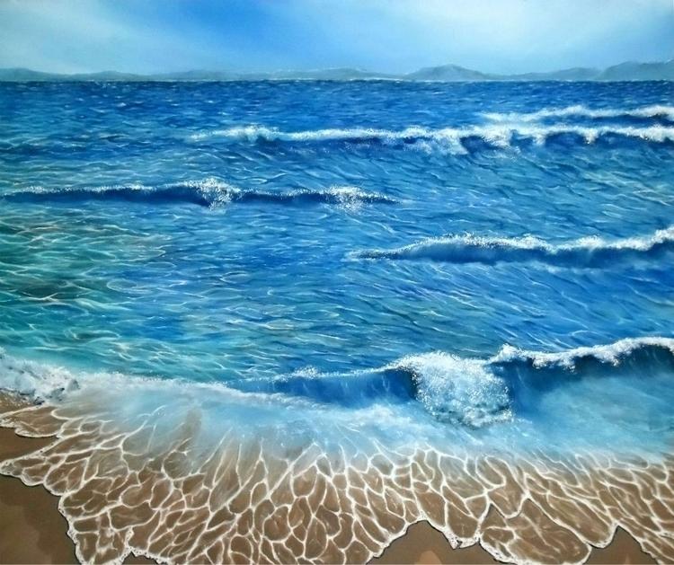 painting art prints coastal sea - fayeanastasopoulou | ello