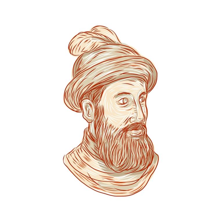 Francisco Pizarro Bust Drawing  - patrimonio | ello