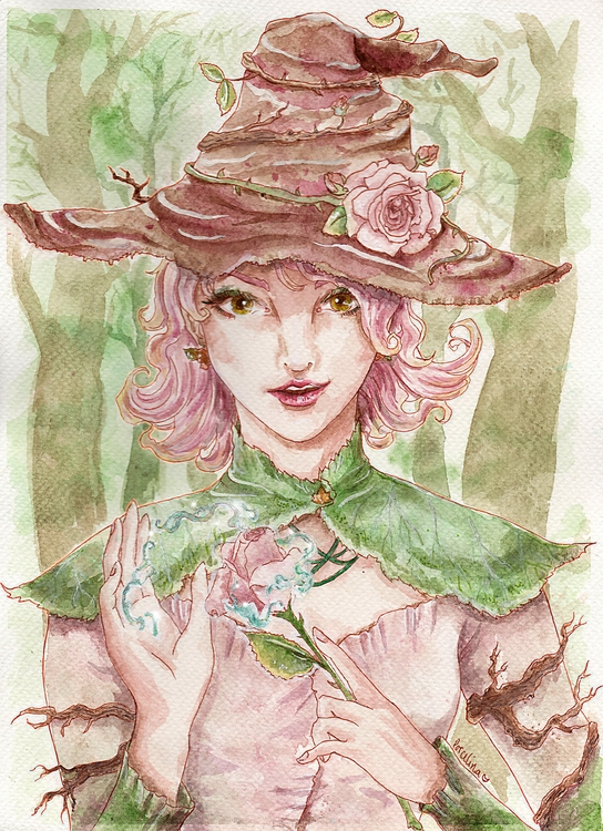 Witch forest. Watercolours, sep - porcelinart | ello