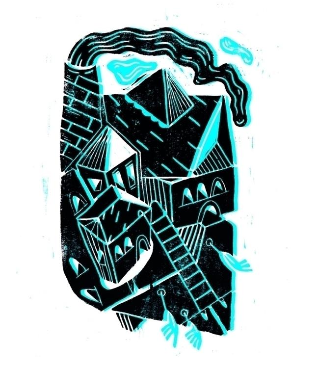 'Fuming City' Linocut print CMY - mono__mono | ello
