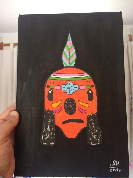 Acrylic Indian Guau! work. 20x3 - iggienopop   ello