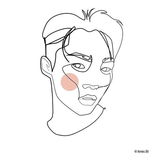 Continuous line drawing Annes B - 0xm   ello