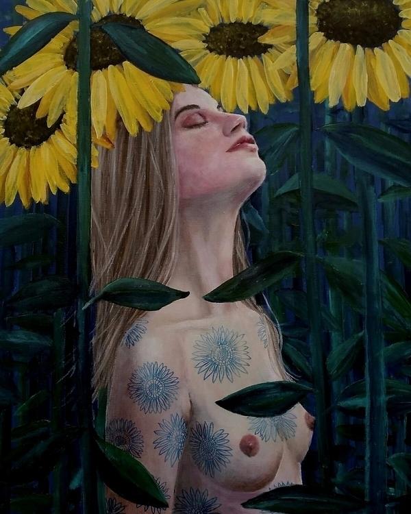Sunflowers. Acrylics canvas - hannefeldt   ello