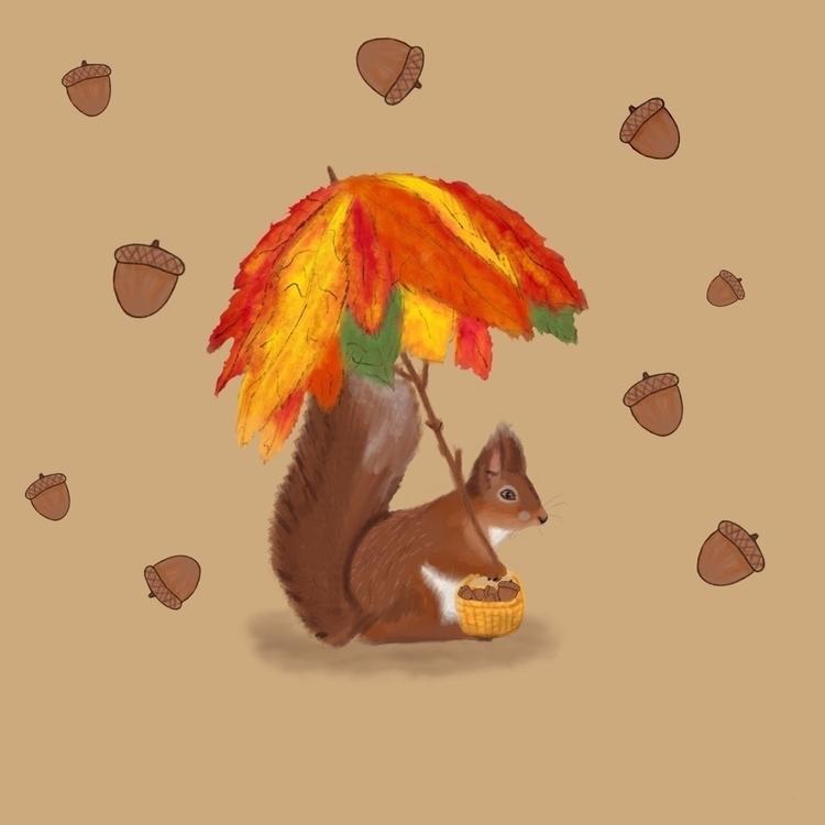 Squirrel  - illustration, art, watercolour - teapotsforelephants | ello