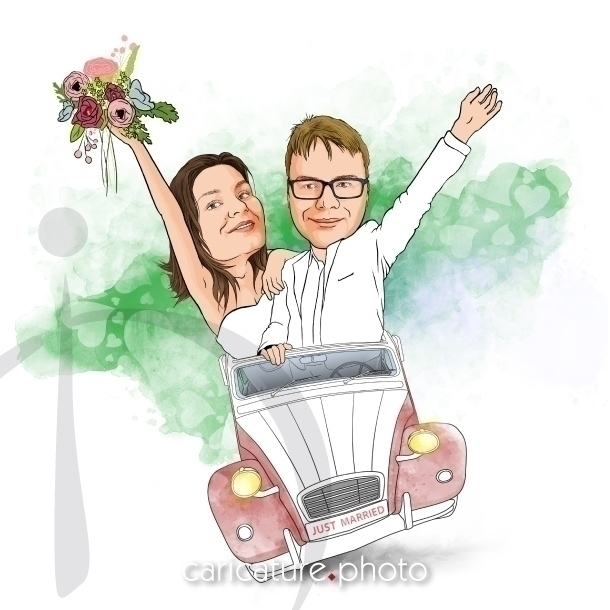 Married 2CV Wedding Caricature - caricatures | ello
