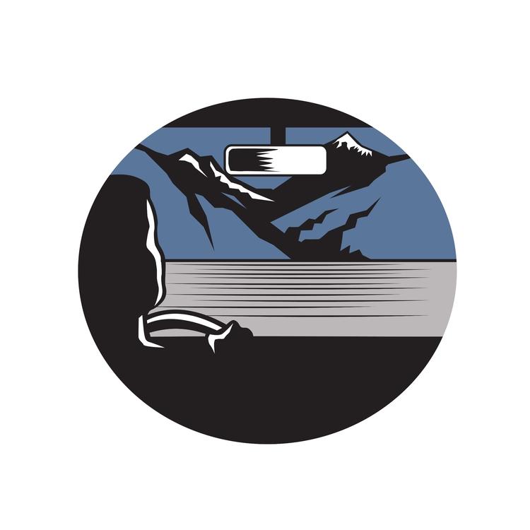 Pass Oval - Driver, Mountain, Woodcut - patrimonio | ello