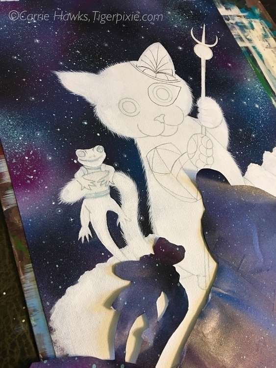 Astral Page Wands WIP 1 galaxy  - tigerpixie | ello