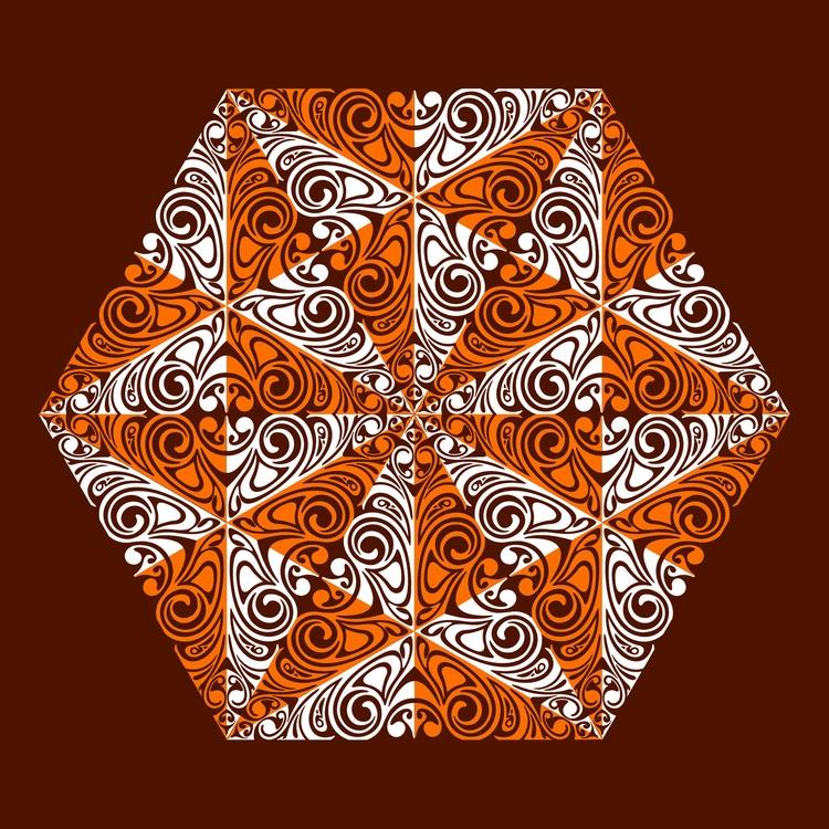 Nº 33 - hexagon, orange, maroon - csilverman | ello