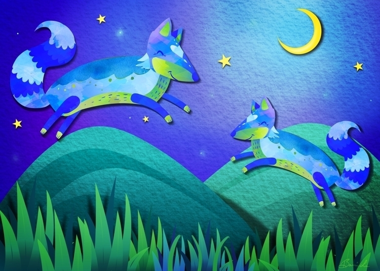 Starlit Foxes piece celebration - littlebunnysunshine | ello