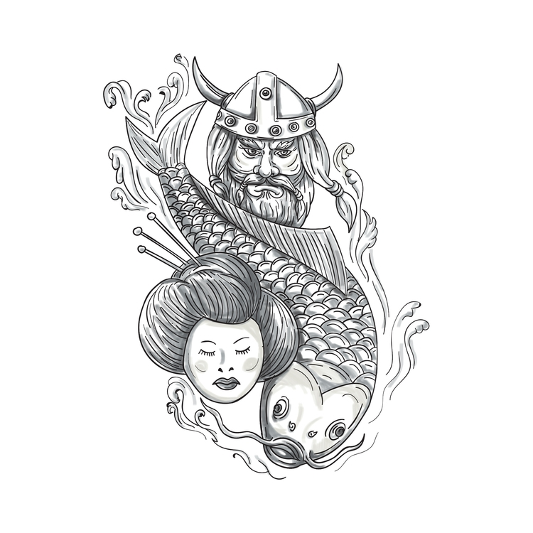 Head - Viking, Carp, Geisha, Tattoo - patrimonio | ello