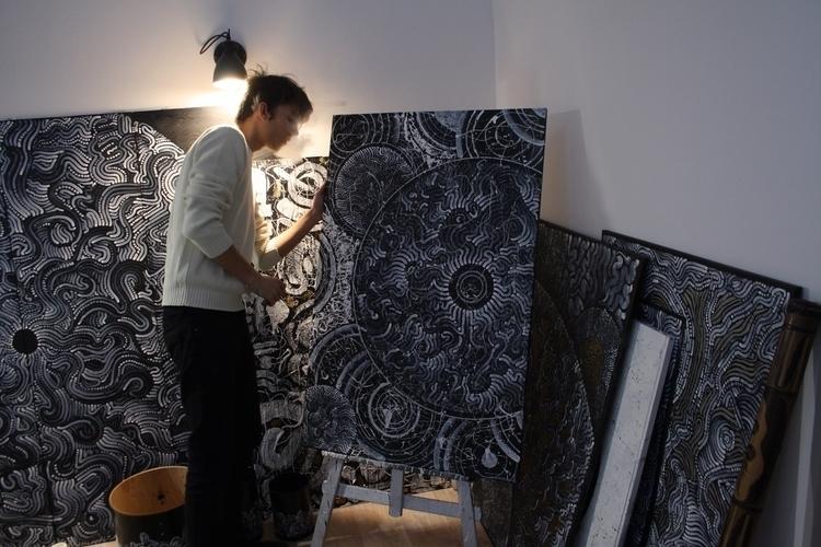 Examining work...  - art, painting - yellabor | ello