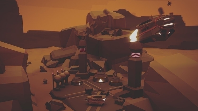 Outpost Full Scene - lowpoly, scifi - nothing_ad | ello